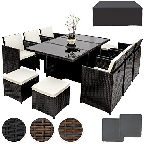 TecTake Poly Rattan Aluminium Gartengarnitur Sitzgruppe 6+1+4, Edelstahlschrauben - diverse Farben - (Schwarz   Nr. 401454)