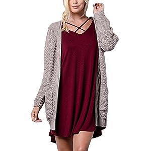 TWBB Bekleidung Damen Pullover, Mode Einfarbig Langarm Strickwaren Open Front Cardigan Pullover Oberbekleidung Taschen Pullover