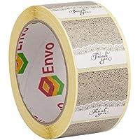 500 Vintage Thank You Pegatinas Adhesivos Tamaño 40mm Cuadrado Adhesivos En Rollo