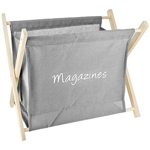 Promobo – Porte revue Motif vintage Rangement en bois, gris, taupe