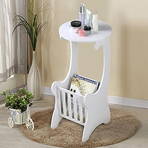 tinkertonk Round Side End Table with Magazine Holder Rack Shabby Chic White for Living Room