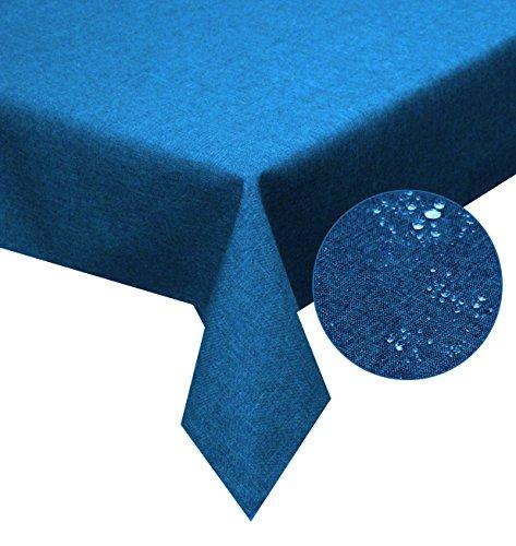 Tischdecke blau 130x160cm Lotuseffekt, abwaschbar, Schmutz- und Wasserabweisend, eckig - Größe, Farbe & Form wählbar (Rund Eckig Oval) (Blauer Stoff Tischdecke)