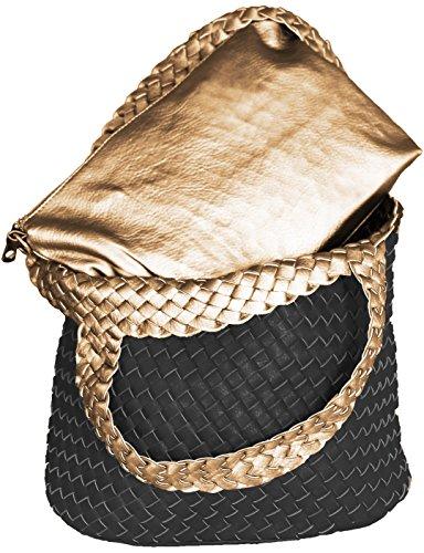 Mevina Damen Wendetasche Flecht Optik 3 in 1 Shopper Beutel Clutsch Leder Optik Henkeltasche Schwarz/Gold A1226 (Tasche Geflochtene)