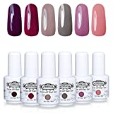 Lot Vernis à Ongles Gel Semi Permanent - Perfect Summer Soak Off UV LED Gel Nail Polish Manucure 6 Couleurs x 8ml Lot 05
