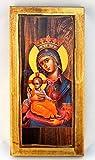 Handgefertigt aus Holz Griechisch Christian Orthodoxe Holz Icon Virgin Mary & Jesus Christus/H1