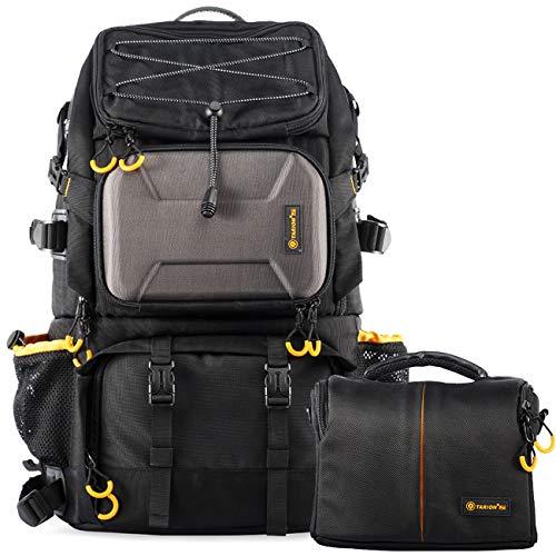TARION PB-01 Kamerarucksack Kameratasche Wetterfest DSLR Rucksack für Camping, Reise Sport, Fotografie (25 Liter, Schwarz)