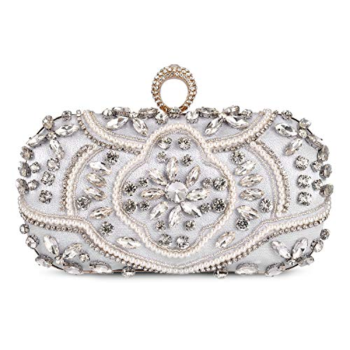 Abendtasche Damen Diamant Clutch Bag Kette Shiny Strass Handtasche für Hochzeit Party - Silber - Hochzeit Clutch