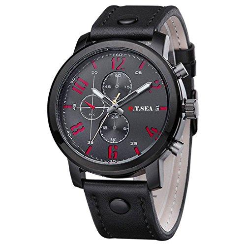 Souarts Herren Schwarz Retro Stil Kunstleder Armbanduhr Quartzuhr Uhr mit Batterie (Schwarz)