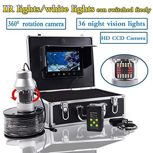 WG 20m / 50m / 100m Kabelkamera Fischfinder 1000TVL Unterwasserfischerkamera 36 LEDs 360 Grad 7 Zoll LCD Monitor drehbar,100M