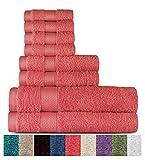 Welhome 100% algodón conjunto 8 pieza toalla (coral); 2 toallas de baño, 2 toallas de mano y 4 Estropajos, lavable a máquina