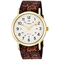 Timex Women Beige Leather Casual Watch - Tw2P81200, Multicolour Band, Analog Display