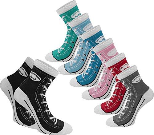 normani 6 Paar Socken im Basketballschuh-Design mit vielen aufgedruckten Details Farbe Hellblau Größe 43/46