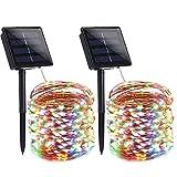Qedertek (2 Stück) Solar Lichterkette Außen, 22M 200 LED Bunt Kupferdraht Lichterketten, 8 Modi IP65 Wasserdicht Solarlichterkette, Außen Weihnachtsbeleuchtung für Weihnachten Party Hochzeit