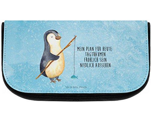 Mr. & Mrs. Panda Kosmetiktasche Pinguin Angeler - 100% handmade in Norddeutschland - Angeln, Kosmetik, Hobby, Angler, Freundinnen, Geschenk, Mäppchen, Beutel, Schlampermäppchen, Kulturtasche, Kunstfaser, Kulturbeutel