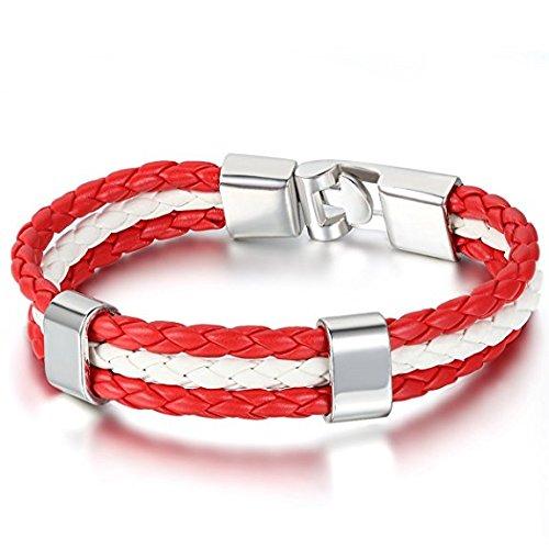 YAZILIND PU Leder Unisex armband Flagge farbe Armband Edelstahl Verschluss Für Männer Frauen (Kanada)