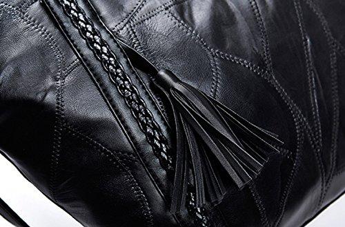 Borse A Tracolla Womens Fashion Pecora Tessuto Tassels Ladies Stitching Tempo Libero Borsa Da Viaggio Shopper Black