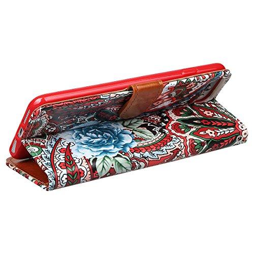 """Wallet Case Hülle für iPhone 7 Plus, xhorizon FLK Weinlese Retro Blumenmuster Leder Brieftasche Fall Wallet Case Mit Perfektion Prime Design für iPhone 7 plus [5.5""""] Rote"""