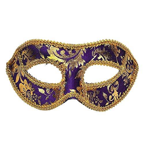 Masque Vénitien Plastique Pour Yeux,Party Mascarade Costume D'Halloween Fantaisie Robe-19 x9cm - Violet, 19 * 9cm