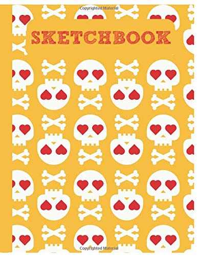 ll Sketchbook for Adults/Children to Sketching, Whiting, Drawing, Journaling and Doodling, Large (8.5x11 Inch. 21.59x27.94 cm.) 120 Blank Pages (YELLOW&WHITE&RED Pattern) ()