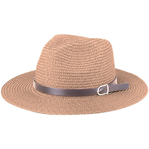 Sharbay Stroh Panamahüte, Unisex Beach Sun Hats UV Protection Foldable Paper Weaved Hats with PU Leather Belt (Khaki)