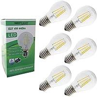 West luce E27 Filament   Lampadina a LED   AC 230 V 4 W 440 lumens 270° bianco caldo, Set da 6, E27, 4.0 wattsW, 230 voltsV
