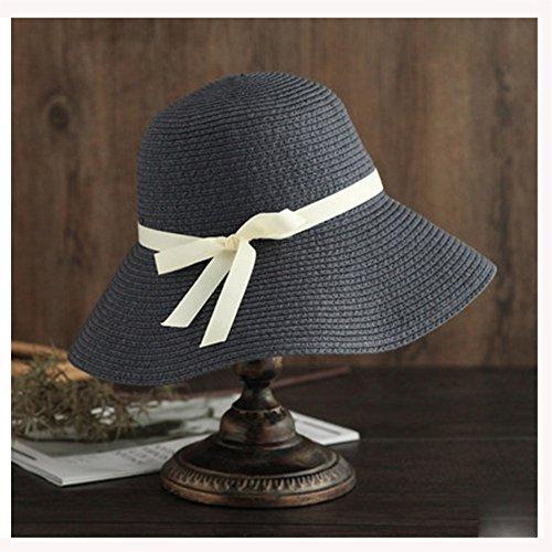 PJ Cappello Cappello di paglia Estate femminile Grande ombrello pieghevole  Cap Leisure Travel Sun Hat Beach Vacation Sun Cappello pescatore Cappello  blu ... 579365e0a4b6