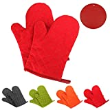 GoFriend Oven Gloves Non-Slip Kitchen Oven Mitts Heat Resistant Cooking Gloves for Kitchen Grilling Cooking, Baking, Barbecue Potholder, 1 Pair, with Two Free Coasters (Red)