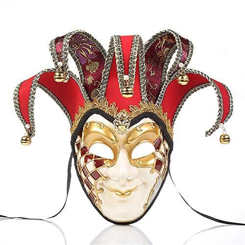 Tcbz Vintage Clown-Maske Halloween Party Masken venezianische Jester Maske Maskenade Glocke Joker Ganzgesicht Wand Deko Kunst Collection, Schwarz - Kunst Geschichte Kostüm