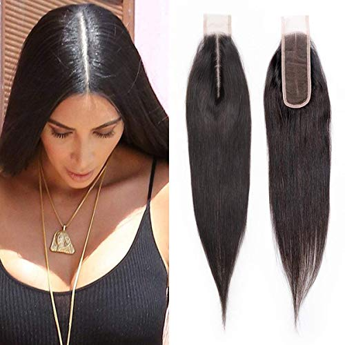 Blisshair lace closure capelli umano silky straight 2x6 parte centrale chiusura con capelli del bambino 100% unprocessed brazilian virign remy hair natural color 8inch/20.3cm
