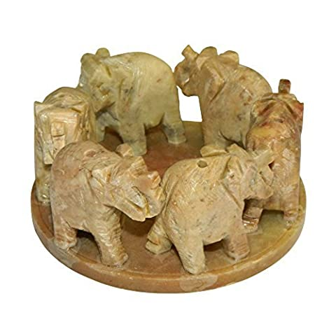 5 Porte-Encens pierre à savon 6 éléphants sur cercle pour 6 batonnets d'encens Artisanat indien