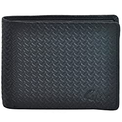 Gentleman Genuine Leather Wallet (Black) Bi-Fold Mated Pattern