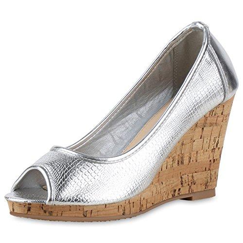 SCARPE VITA Keilpumps Korkoptik Pumps Metallic Peep-Toes Sommer Schuhe 164306 Silber Metallic 38 -