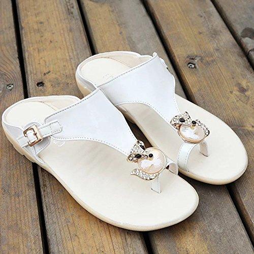 Cailin Sandals, Sandales Spring Summer Comfort Robe en PU Casual Flip-Flops (Blanc / Bleu / Rose) ( Couleur : Rose , taille : EU38/UK5.5/CN38 ) Blanc