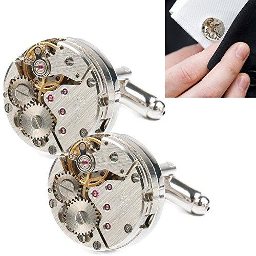 Amile Manschettenknöpfe für Herren, Deluxe Manschettenknöpfe Uhrwerk Einzigartiges Design Herren Manschettenknöpfe Business Hochzeit Geburtstag Geschenk