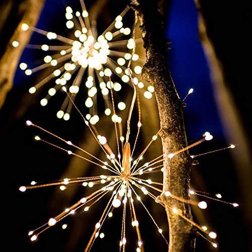 REHYTSG Feuerwerks-LED-helle Kette, dekorative Explosion Starlight-Licht-Kette mit Batterie-Kasten mit 8 Funktions-Fernbedienung für Feiertags-Bankett-Dekoration, die Atmosphäre reparierend