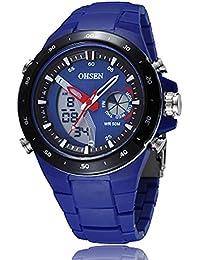 Cursonline® Elegante Reloj Hombre Mujer Ohsen AD2802 Doble Jornada Chrono Water Despertador Cuarzo AD2802 & Resistant Led turquesa