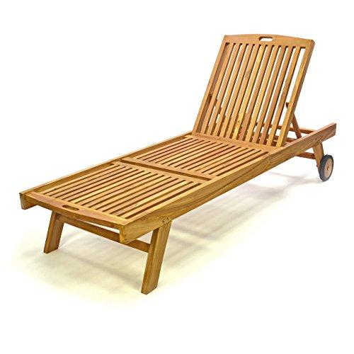 Divero DIVERO Sonnenliege Holzliege mit Rollen Gartenliege Teakholz