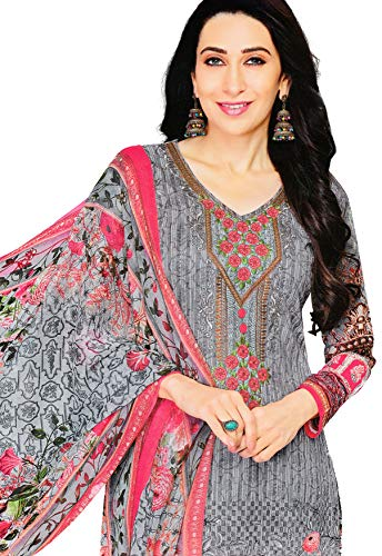 Surkhab Impressions Women's Pure Cambric Cotton Embroidered Unstitched Salwar Suit Dress Material