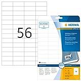Herma 5080 Etiketten ablösbar, wieder haftend (52,5 x 21,2 mm) weiß, 1.400 Aufkleber, 25 Blatt DIN A4 Papier matt, bedruckbar, selbstklebend, Movables