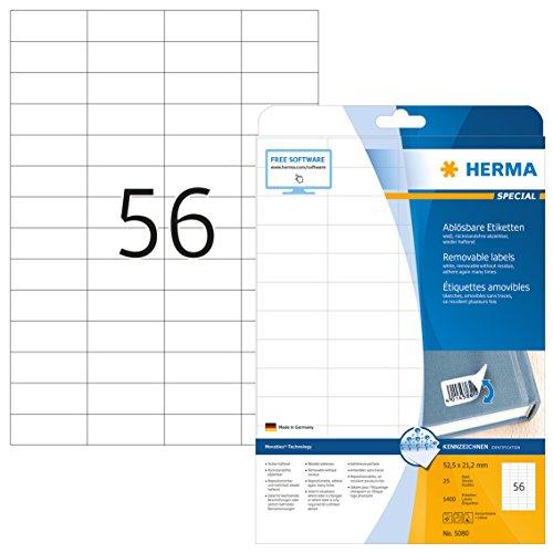 Herma 5080 Universal Etiketten ablösbar, wieder haftend (52,5 x 21,2 mm) weiß, 1.400 Aufkleber, 25 Blatt DIN A4 Papier matt, bedruckbar, selbstklebend, Movables
