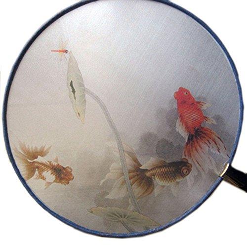 Tassel Décor bambou poignée ronde Motif Éventail Poisson
