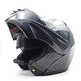 YWLG Motorradhelm Mit Bluetooth-Doppellinse Vollgesichtsmotorrad Schutzkappe Flip Up Helme Erwachsener Motorcross Helm,C1-M