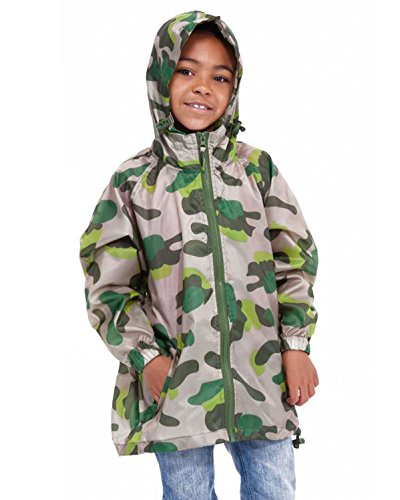 Childrens/Boys Rainwear Waterproof Long Sleeve Rain Jacket With Camouflage Print, Green 11-12 Years