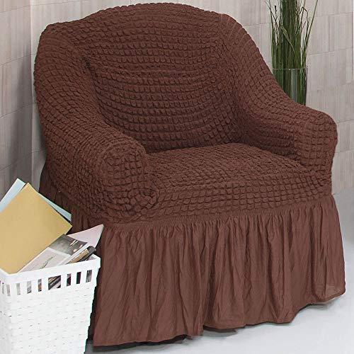 Mixibaby Sofabezug Sofahusse Sesselbezug Sitzbezug Sesselüberwurf Stretchhusse 1 er Sofa, Farbe:braun