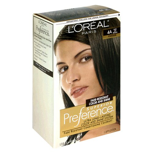 L'Oreal Paris Loreal Paris Superior Preference Fade-Defying Color Plus Shine System 4A Dark Ash Brown Cooler, 3 Pack