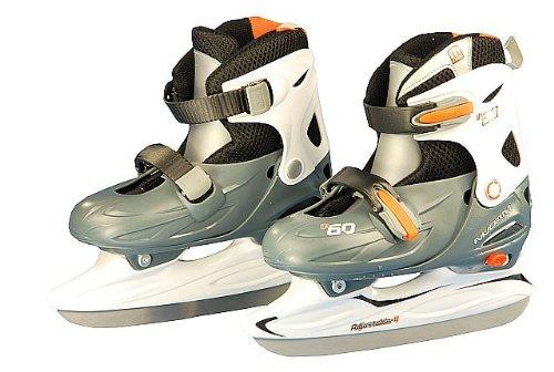 Nijdam Junior Eishockey Schlittschuhe Kinder größenverstellbar (30 - 33||grau weiß orange)