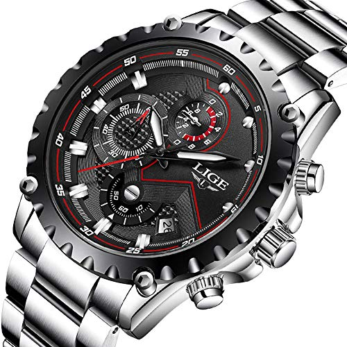 LIGE Uhren Herren Sport Wasserdicht Analog Quarz Chronograph Datum Business Fashion Edelstahl Schwarz Armbanduhr 9821A