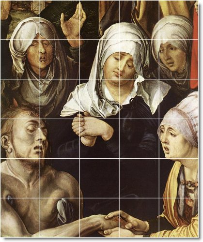 ALBRECHT DURER RELIGIOSO DUCHA MURAL DE AZULEJOS 22  40X 48CM CON (30) 8X 8AZULEJOS DE CERAMICA