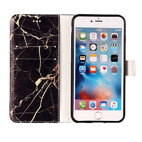 """MOONCASE iPhone 7 Plus Hülle, [Colorful Pattern] Stoßfest Ganzkörper Schutzhülle mit Ständer Leder Handytasche Case für iPhone 7 Plus 5.5"""" White Black"""