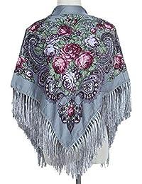 Baisheng Colorido Estilo étnico Pañuelo de algodón de cuatro lados Pañuelo cuadrado Mujeres Invierno Impresionante Tela